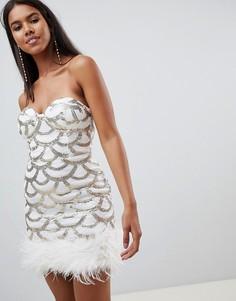 Платье мини с пайетками Rare - Белый
