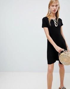 Платье-трапеция с короткими рукавами New Look - Черный