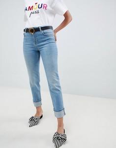 Выбеленные джинсы узкого кроя с отворотами Miss Selfridge - Синий