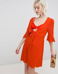Платье мини с поясом Free People - Красный