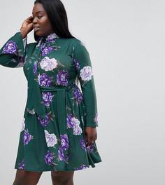 Платье с высоким воротником и принтом Club L Plus - Зеленый