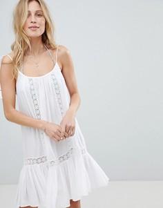 Пляжное платье на бретельках с кружевными вставками Accessorize - Белый