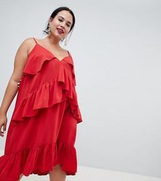 Платье миди на бретельках с оборками ASOS DESIGN Curve - Красный