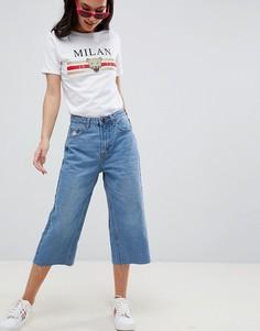 Широкие укороченные джинсы Boohoo - Синий