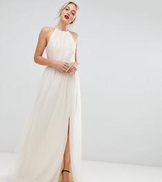 Платье макси кремового цвета с американской проймой Little Mistress Tall - Кремовый