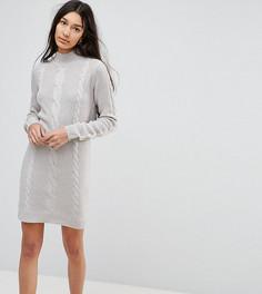 Вязаное платье-джемпер с узором косичка Brave Soul Tall - Серый
