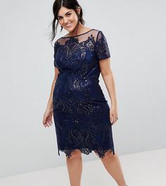Платье-футляр миди с короткими рукавами Chi Chi London Plus - Темно-синий