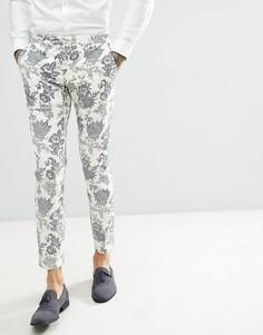 Кремовые брюки супероблегающего кроя с добавлением льна и бархатистым рисунком Twisted Tailor - Кремовый