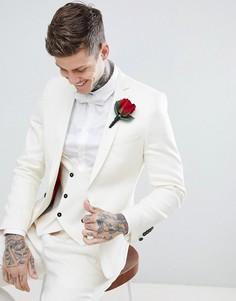 Облегающий пиджак кремового цвета Twisted Tailor Wedding - Кремовый