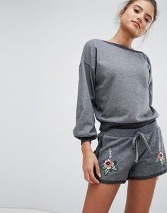 Трикотажные шорты с вышивкой Hunkemoller - Серый