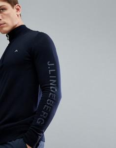 Темно-синий джемпер из мериносовой шерсти с логотипом и короткой молнией J.Lindeberg Golf Kian - Темно-синий