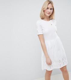 Короткое приталенное платье с вышивкой ришелье ASOS DESIGN Tall - Белый