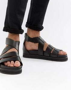 Черные кожаные гладиаторские сандалии с массивной подошвой ASOS DESIGN - Черный