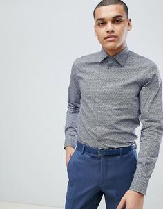 Темно-синяя приталенная рубашка с цветочным принтом Esprit - Белый