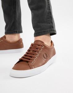 Светло-коричневые кожаные кроссовки Fred Perry Underspin - Рыжий