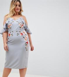 Платье-футляр с вышивкой и вырезами на плечах ASOS DESIGN Curve - Синий