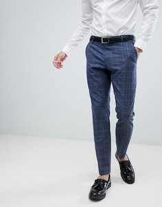 Синие узкие брюки в клетку Selected Homme - Темно-синий