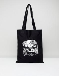 Черная сумка-тоут с принтом LA и черепом ASOS DESIGN - Черный
