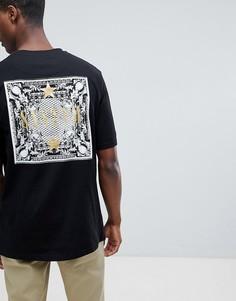 Oversize-футболка с золотистым принтом металлик на спине Systvm - Черный