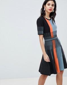 Платье с полосками Boss Casual - Темно-синий