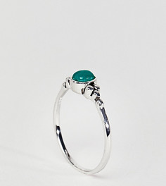 Серебряное кольцо с небольшим камнем и гравировкой ASOS DESIGN - Серебряный