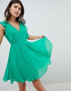 Платье мини с открытой спиной и оборками ASOS DESIGN - Зеленый