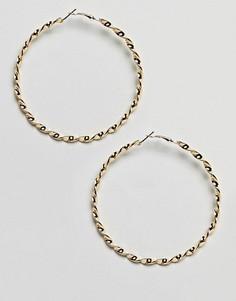 Золотистые спиралевидные серьги-кольца DesignB London - Золотой