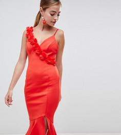 Платье миди с баской и цветочной отделкой ASOS DESIGN Petite - Красный