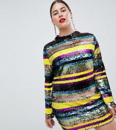Облегающее платье с пайетками в полоску Club L Plus - Мульти