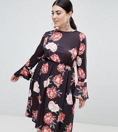 Платье с длинными рукавами и цветочным принтом Club L Plus - Черный