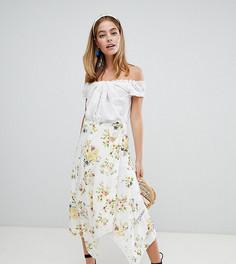 Платье миди с запахом и кружевными вставками ASOS DESIGN Petite - Мульти