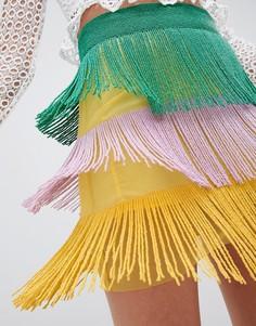 Ярусная мини-юбка с разноцветной отделкой ASOS DESIGN - Мульти