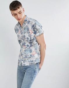 Узкая рубашка с отложным воротником и принтом Esprit - Белый
