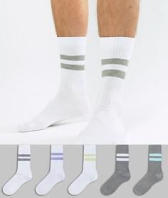 5 пар белых и серых спортивных носков с полосками ASOS - Мульти