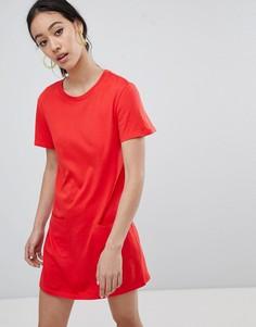 Платье-футболка с карманами Monki - Красный