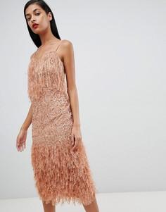 Платье миди с пайетками и перьями ASOS DESIGN - Розовый
