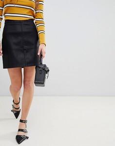 Мини-юбка из искусственной кожи New Look - Черный