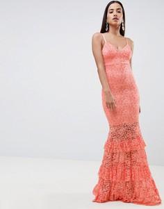 Кружевное платье макси с ярусной отделкой ASOS DESIGN - Оранжевый