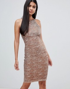 Платье миди с высоким воротом Rare - Золотой