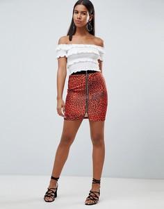Мини-юбка с леопардовым принтом и молнией Rare - Красный