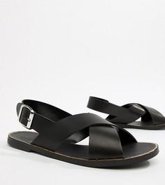 Кожаные сандалии для широкой стопы Depp - Черный