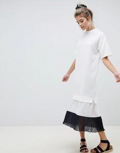 Платье миди с контрастным плиссированным подолом ASOS DESIGN - Мульти