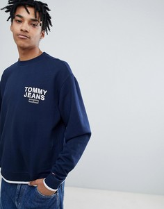 Tommy Jeans Small Chest Logo Crew Neck Sweatshirt Relaxed Regular Fit in Navy - Темно-синий