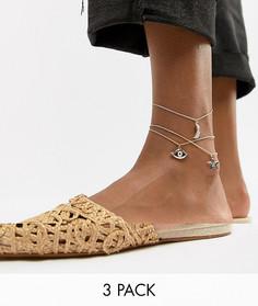 3 браслета на ногу с подвесками ASOS DESIGN - Золотой