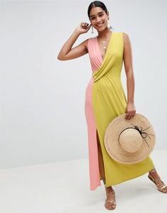 Платье макси колор блок ASOS DESIGN - Мульти