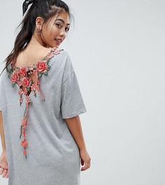 Платье-футболка с вышивкой ASOS DESIGN Petite - Серый