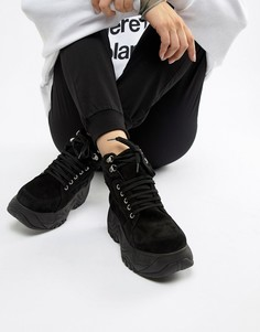 Замшевые высокие кроссовки на массивной подошве Depp - Черный