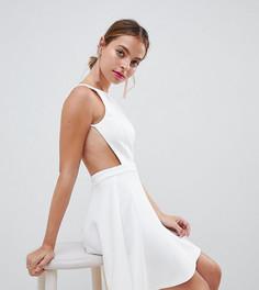 Платье мини с вырезом в стиле борцовки ASOS DESIGN Petite - Белый
