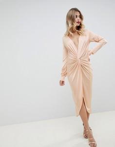 Платье миди Boohoo - Бежевый