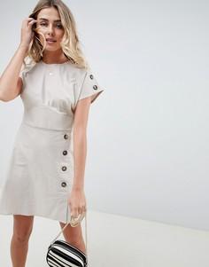 Саржевое платье мини в стиле casual с пуговицами ASOS DESIGN - Кремовый